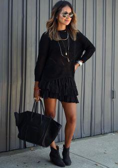 "[do action=""rstyle-post-links""]ELIZABETH AND JAMES drawstring ruffle skirt DEMYLEE knit sweater ISABEL MARANT dicker boots in black RAY BAN original aviator sunglasses CELINE phantom bag[/do]"