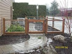 What a cool-looking fence! Who knew cattle panels could look so pretty? What a cool-looking fence! Dog Fence, Fence Gate, Hog Wire Fence, Bamboo Fence, Welded Wire Fence, Gabion Fence, Backyard Fences, Garden Fencing, Fence Landscaping