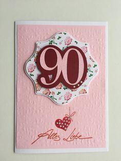 Herzlichen Glückwunsch. Alles Gute zum 90. Geburtstag; rosa