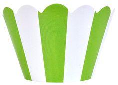 Cupcake Wrapper 20pcs Striped Green Apple