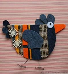 Only make one side and then applique to a block. Easter Crafts, Felt Crafts, Diy And Crafts, Crafts For Kids, Arts And Crafts, Chicken Crafts, Chicken Art, Wool Applique, Applique Patterns