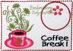 COFFEE BREAK Machine Embroidered Mug by EmbroideryEdytheAnn, $3.25