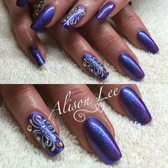 Gel ll 'purple day' with 'Iris' magpie pigment, hand painted gel design and Swarovski crystals