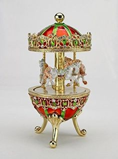 Sparkling-Collectibles-Merry-Go-Round-Carousel-MUSIC-BOX-Austrian-Crystals-White