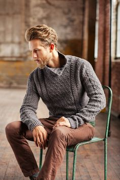 """With this sweater, I envisioned a gentlemanly Aran – one which I could imagine worn by broad-shouldered heroes of classic movies. The sleeve caps are cut higher than is usually found in knitwear and must be eased in at the very top but the effect rewards by emphasizing a man's strong shoulder line."" – Véronik …"