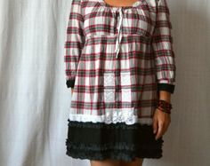 upcycled clothing, lace, cotton dress, cottage chic, checkered dress, recycled dress