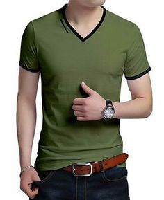 JNC Men's Summer V-Neck Casual Slim Fit Short Sleeve T-Shirts Cotton Shirts (Army Green) Men smart casual wear - Fashionable men t shirts - Latest men fashion trends. Smart Casual Outfit, Casual Wear For Men, Mens Summer T Shirts, Mens Polo T Shirts, Mens Shirt Pattern, Boys Clothes Style, Latest Mens Fashion, Men Fashion, Fashion Trends