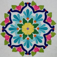 Fiesta de Talavera -- This breathtaking quilt pattern was inspired by painted Mexican Talavera tiles. Nine applique blocks along with an applique border. Finished quilt size is x design by J. Applique Patterns, Mosaic Patterns, Applique Designs, Quilt Patterns, Creeper Minecraft, Patchwork Quilting, Applique Quilts, Scrappy Quilts, Southwestern Quilts