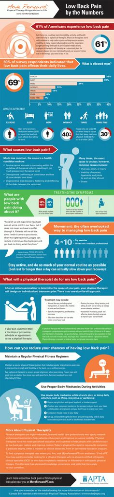 61% of Americans Experience Low Back Pain- Most Americans (61 percent) experience low back pain, but physical therapists can help restore motion and activity by treating the source and not just the symptoms of pain. Check out this infographic for more statistical facts, as well as tips on how to relieve and prevent back pain. #infographic