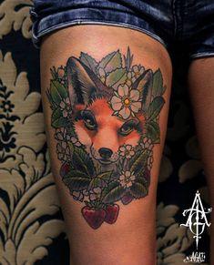 Cute Strawberry Fox tattoo by Agat Artemji
