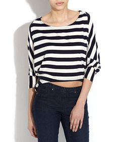 AX Paris Black And White Striped Batwing Top