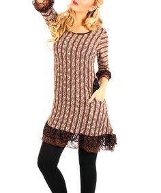 Brown & Black Stripe Lace-Trim Tunic by Lily #zulily #zulilyfinds
