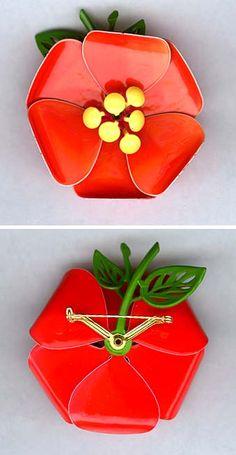 flower enamel brooch