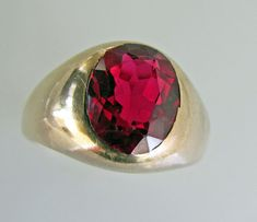 Antique Men's Ruby & Gold Gypsy Ring. Classical Wide by MercyMadge