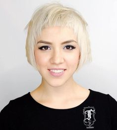 Short Blonde Bob With Cropped Bangs