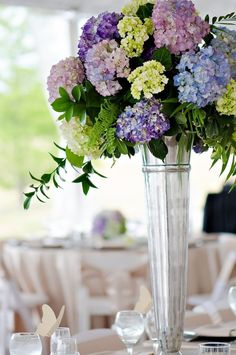 Indianapolis Wedding at Coxhall Gardens from Lucky Heart Photography Tall Flower Arrangements, Flower Centerpieces, Wedding Centerpieces, Wedding Table, Wedding Decorations, Centerpiece Ideas, Decor Wedding, Purple Wedding, Floral Wedding