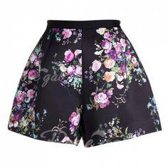 Casual Zipper Floral Print Color Splicing High Waist A-Line Shorts For Women