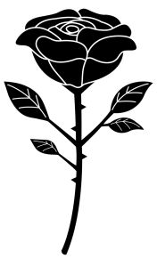 Black Silhouette of a Single Black Rose - Free Clip Art Black Rose Flower, Black And White Roses, Clipart Black And White, Black And White Design, Rose Clipart, Flower Clipart, Vector Flowers, Black Rose Symbolism, Baby Dragon Tattoos