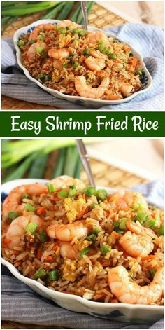 Easy Shrimp Fried Rice recipe from You can find Shrimp and more on our website.Easy Shrimp Fried Rice recipe from Easy Shrimp Fried Rice Recipe, Shrimp And Rice Recipes, Easy Rice Recipes, Seafood Recipes, Dinner Recipes, Cooking Recipes, Healthy Recipes, Chinese Shrimp Fried Rice, Asian Shrimp