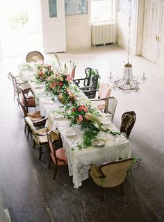 Wildly romantic tablescape   Anne Robert Photography   see more on: http://burnettsboards.com/2014/03/dreamy-abandoned-mansion-inspiration-shoot/