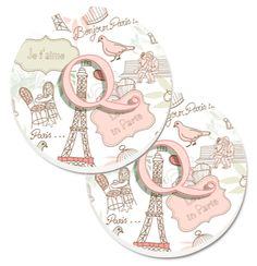 Letter Q Love in Paris Pink Set of 2 Cup Holder Car Coasters CJ2002-QCARC