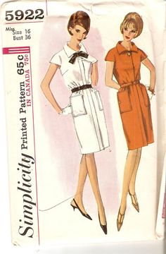Belted Sheath Dress Pattern Bust 36 Shift Pattern by CherryCorners, Vogue Patterns, Mccalls Patterns, 60s Patterns, Vintage Costumes, Vintage Outfits, Vintage Fashion, Vintage Style, Vintage Dress Patterns, Clothing Patterns