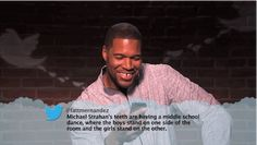 Michael Strahan's teeth are having a middle school dance. - Real Funny has the best funny pictures and videos in the Universe! Celebrity Mean Tweets, Celebrities Read Mean Tweets, Celebrities Reading, Middle School Dance, School Dances, American Funny Videos, Funny Dog Videos, Humor Videos, Best Funny Photos