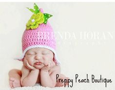 Crochet Baby Hat, Photography Prop, Hot Pink FLOWER Baby Girl Beanie, Newborn to 3 Months, Cotton Baby Pixie Gnome Hat, Photographer Prop. $23.95, via Etsy.
