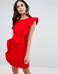 Vero Moda Ruffle Panel Pencil Dress - Red