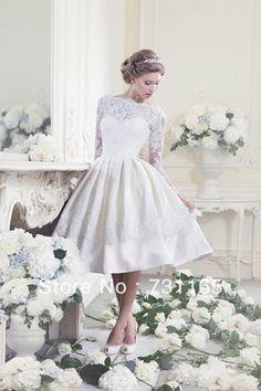 Vendita calda!! 2013 nuovo design elegante avorio manica lunga senza schienale lunghezza al ginocchio abito da sposa corto abito da sposa