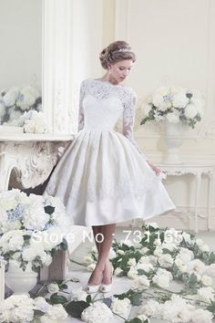 Hot Sale!! 2013 New Design Elegant Ivory Long Sleeve Backless Knee Length Short Wedding Dress Bride Dress on Aliexpress.com