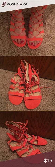 Brand: GC Shoes Size 7.5, coral lace up gladiator sandals. Brand new never worn, but no box. Because of try ons in store, right foot is a little more loose on that front strap but not by much. GC Shoes Shoes Sandals