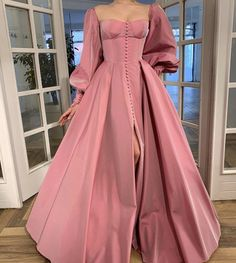 Details: - Exquisite Taffeta fabric - Pink sherbet color - Buttoned A-line style with open skirt and sleeves - For special occasions Elegant Dresses, Pretty Dresses, Beautiful Dresses, Vintage Prom Dresses, Prom Dresses Long Sleeve, Flapper Dresses, Mini Dresses, Ball Gown Dresses, Evening Dresses