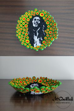 Bob Marley is the undisputed King of Reggae, and this bowl attempts to pay homage to the legend himself. Using a black and white image of Bob as the centrepiece, the rasta shades of red, yellow and green create a striking border. Paper Bowls, Paper Artist, White Image, Shades Of Red, Bob Marley, Reggae, Art Pieces, Centerpieces, King