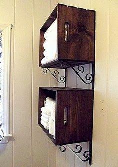 Crate shelves for bathroom