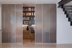 Sliding Glass Door Design Parade for Your Modern Home: Closet Styled Frosted Glass Doors To Tuck Away Home Office Space With White Interior . Sliding Door Design, Sliding Closet Doors, Sliding Glass Door, Glass Doors, Sliding Panels, Sliding Wardrobe, Wardrobe Doors, Glass Walls, Panel Doors