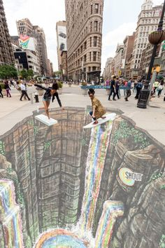 11 Mesmerizing Chalk Art Masterpieces That Will Melt Your Brains 3d Street Art, Amazing Street Art, Street Art Graffiti, Amazing Art, 3d Sidewalk Art, Rainbow Waterfall, Rainbow Falls, Pavement Art, 3d Chalk Art