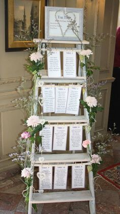 Vintage table plan  with fresh flowers