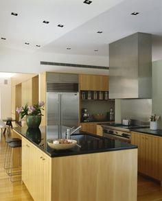 Wohnideen Moderne Küche Holzmöbel Schwarze Arbeitsplatte
