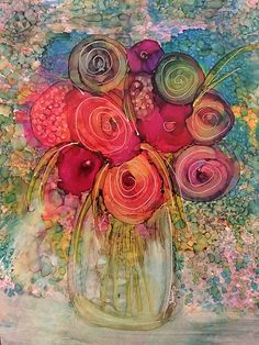 Spring Bouquet Original Alcohol Ink Painting on Yupo. A one-of-a-kind piece of art waiting to be framed and hung on your wall. Sue - pic for inspiration - work of art by Yaki . looks like alcohol inks on white ceramic tile . Alcohol Ink Crafts, Alcohol Ink Painting, Alcohol Ink Art, Abstract Flowers, Watercolor Flowers, Watercolor Art, Colorful Flowers, Arte Floral, Painting & Drawing