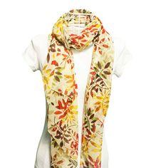 Summer Silk Feeling Cream Scarf - Shop Online - Lady Fuschia