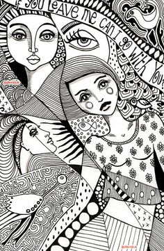 "Art print A4 from original doodle zentangle by denthe / black & white wall art / print with quote / ""If you leave me"""