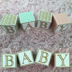 Gold, mint and pink baby blocks. Website link in bio. #etsyshop #handmade #bitsyblocks #baby #nursery #mint #makersvillage #etsy #newbornphotography