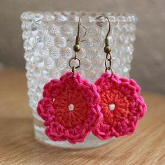 Hot Pink and Orange Simple Crochet Flower Earrings £3.50