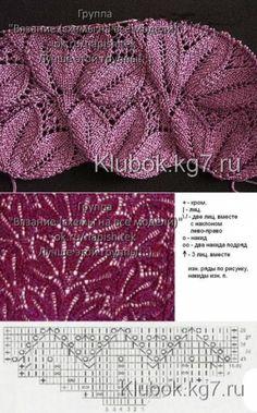 Красивый узор | Клубок Knitting Charts, Baby Knitting Patterns, Lace Knitting, Knitting Stitches, Knit Crochet, Knit Fashion, Pulls, Knitted Hats, Knit Patterns