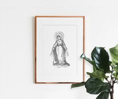 This supreme quality print serves as statement piece to glorify our blessed mother. Print measures 8 in x 11 in (frame not included) or in 11 in x 14 in . Catholic Gifts, Catholic Art, Religious Gifts, Religious Art, Catholic Store, Virgin Mary Art, Jesus Art, Modern Wall Art, Fine Art Paper