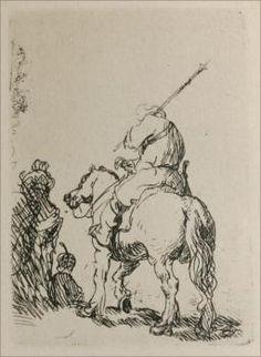 A Man on Horesback - Rembrandt van Rijn - etching