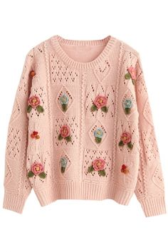 Pink Hollow-Out Flower-Deco Knit Sweater