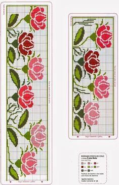 punto croce schemi gratis asciugamani | Ricami e schemi a Punto Croce gratuiti: Raccolta di bordi a tema rose