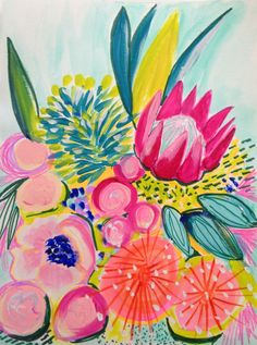Tropical modern flower painting, floral abstract, contemporary flowers, modern flowers, abstract floral, bohemian flowers, folk flowers by ArtontheMoonstudio on Etsy https://www.etsy.com/listing/231679156/tropical-modern-flower-painting-floral